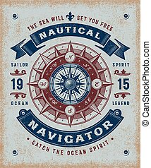 vendange, navigateur, typographie, nautique