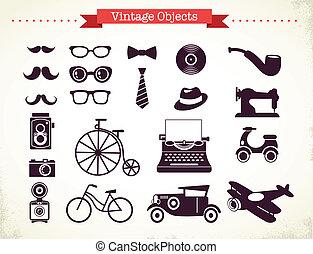 vendange, objets, hipster, collection