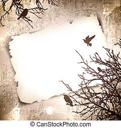 vendange, oiseaux, fond, printemps