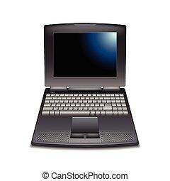 vendange, ordinateur portable, vecteur, isolé, blanc