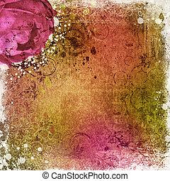 vendange, papier peint, fond, rose