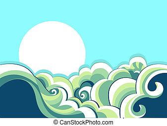 vendange, paysage, mer, waves., illustration