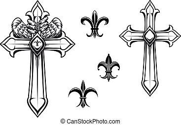 vendange, pierre, croix