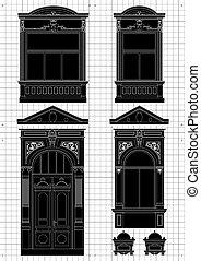 vendange, plan, architectural, maison