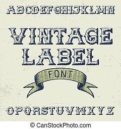 vendange, police, étiquette, affiche