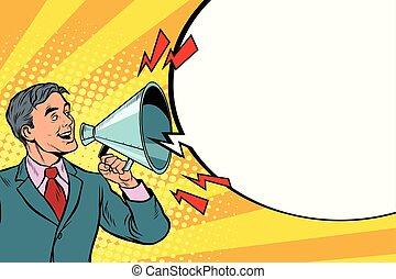 vendange, porte voix, orateur, cris