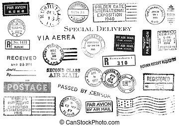 vendange, postal, ensemble, marques