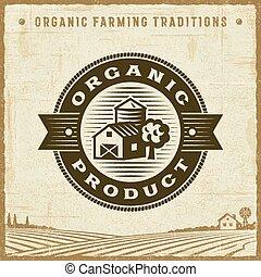 vendange, produit, organique, étiquette