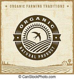vendange, produit, organique, naturel, étiquette