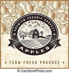 vendange, récolte, pomme, étiquette