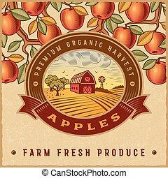 vendange, récolte, pomme, coloré, étiquette