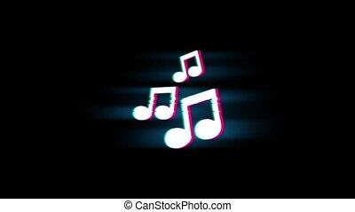 vendange, retro, cordes, glitch, symbole musique, animation., chanson