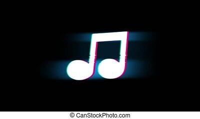 vendange, retro, glitch, symbole musique, animation., chanson, corde