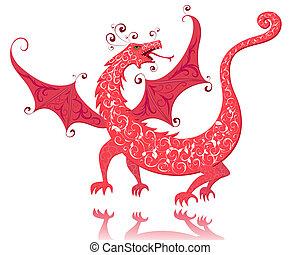 vendange, rouges, dragon