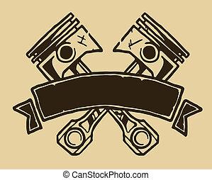 vendange, ruban, pistons