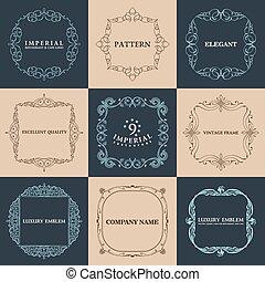 vendange, set., calligraphic, élégant, vecteur, texte, cadres, frontière