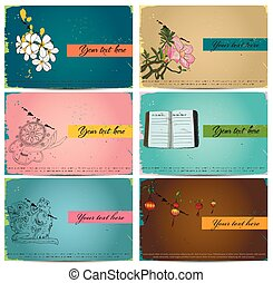 vendange, set., cartes, business