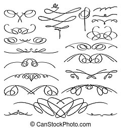 vendange, set., vignette, calligraphic, vecteur, collection.