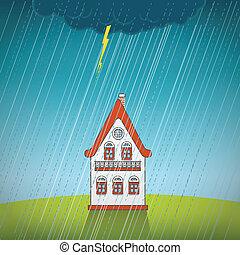 vendange, solitaire, pluie, maison