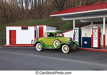 vendange, station, essence, retro, voiture