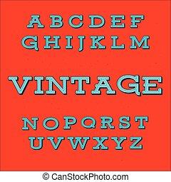 vendange, style, police, retro, alphabet