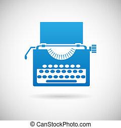 vendange, symbole, créativité, illustration, vecteur, conception, retro, gabarit, icône, machine écrire