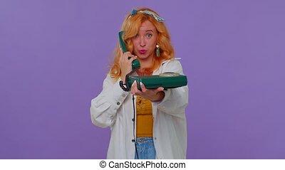 vendange, téléphone, 80s, appeler, dos, conversation, vous, roux, gai, secrétaire, dit, me, girl, hé, câble