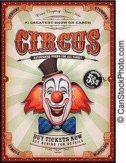 vendange, tête, clown cirque, affiche