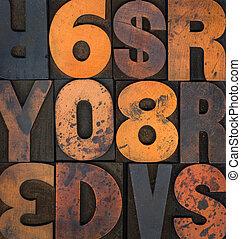 vendange, taché, type, letterpress, encre