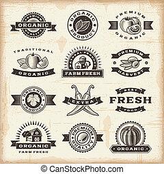 vendange, timbres, ensemble, récolte, organique