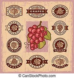 vendange, timbres, ensemble, raisins