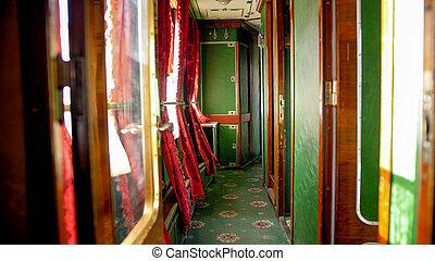 vendange, train bois, moquette, intérieur, portes, exprès