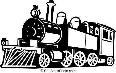 vendange, train, noir, fait, blanc, vapeur