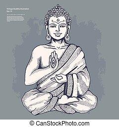vendange, vecteur, bouddha, illustration