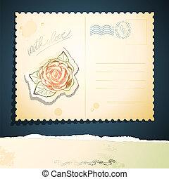 vendange, vecteur, carte postale