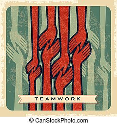 vendange, vecteur, collaboration