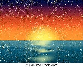 vendange, vecteur, coucher soleil, sea., illustration