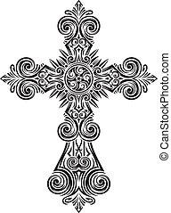 vendange, vecteur, croix