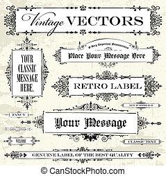 vendange, vecteur, ensemble, étiquette