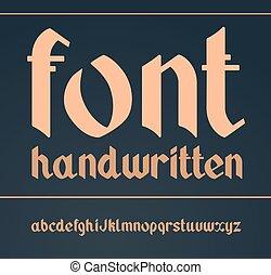 vendange, vecteur, gothique, font., manuscrit