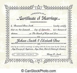 vendange, vecteur, mariage, certificat.