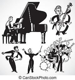 vendange, vecteur, musiciens, instruments