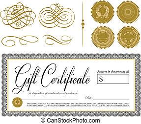 vendange, vecteur, ornements, certificat, orné