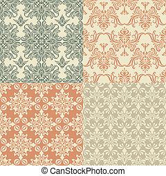 vendange, vecteur, seamless, papier peint, motifs