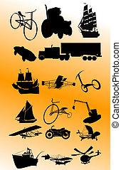 vendange, vecteur, transport, set;