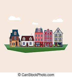 vendange, vecteur, vieux, illustration, maisons