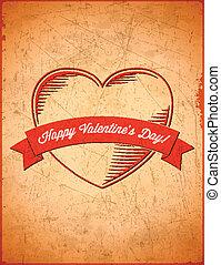 vendange, vieilli, jour, carte, valentines