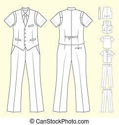 vendeur, homme, caissier, ou, vêtements