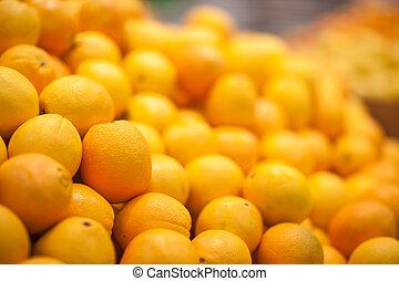 vendre, market., foyer., sélectif, fond, fruits, frais