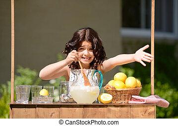 vendre, peu, limonade, girl, essayer